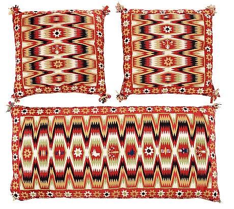 Wagon cushion and cushions, 1 pair. flat-weave (rölakan). skåne around 1830-40.