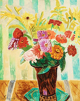 16. Isaac Grünewald, Still Life with Flowers and striped wallpaper.