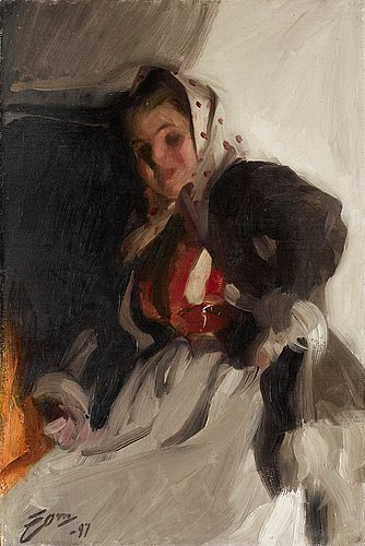 """Anders zorn, """"vid spisen"""" (by the fireplace)."""