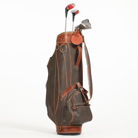 Mulberry A Green Leather Golf Bag With Golf Clubs