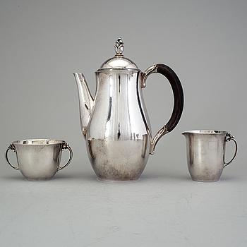 HARALD NIELSEN, kaffeservis, 3 delar, Georg Jensen, Köpenhamn 1945-51, Jensen & Wendel, sterling,