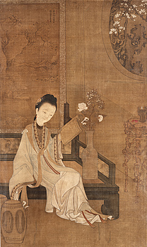 1537. A fine hanging scroll of a reading court-lady, Qing dynasty, presumably 18th century.
