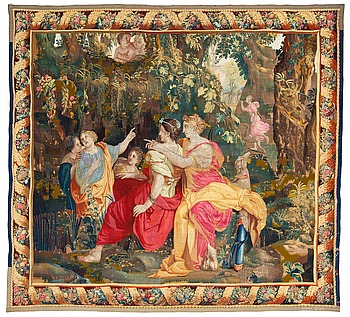 "247. TAPESTRY, tapestry weave. ""Seated nymphs"" from the suite Apollo and Daphne. 275 x 302 cm. Atelier de la Chaise, Faubourg St. Germain (1628-1668), Paris."