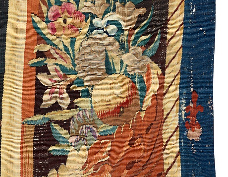 "Tapestry, tapestry weave. ""seated nymphs"" from the suite apollo and daphne. 275 x 302 cm. atelier de la chaise, faubourg st. germain (1628-1668), paris."