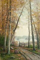 ELLEN FAVORIN, AUTUMN DAY. Sign. Oil on can...