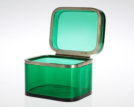 A josef frank green glass and pewter box by svenskt tenn.