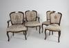Karmstolar, ett par och stolar, ett par, rokokostil.