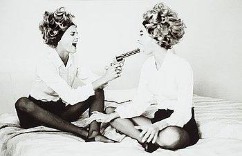 """211. Ellen Von Unwerth, """"Linda and Christie with Toy Gun, Cannes, 1990""""."""