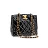 Chanel, a black quilt leather shoulder bag, 1980's.