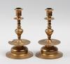 Ljusstakar, ett par, mässing, torshammars bruk, sent 1800-tal.