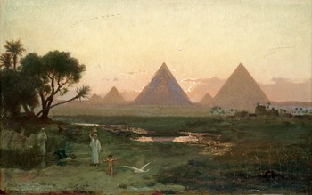 5. Georg von Rosen, The pyramids at Giza from the bank of the Nile.