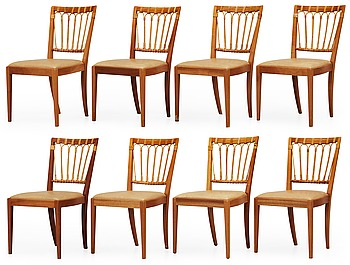 464. A set of eight Josef Frank mahogany, bamboo and ratten chairs by Svenskt Tenn.