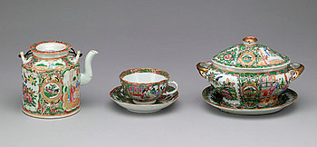 289341. SERVISDELAR, tre delar, porslin. Kina, Kanton, omkring 1900.