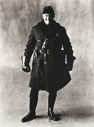 "Irving penn, ""motorcycle policeman, new york, 1951""."