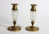 Ljusstakar, ett par, mässing och glas, empirestil 1800/1900-tal.