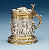 A german 17th century parcel-gilt tankard, makers mark of johann brockmer, hamburg 1662-1685.
