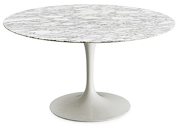6. An Eero Saarinen 'Tulip' marble top dinner table, Knoll International, USA.