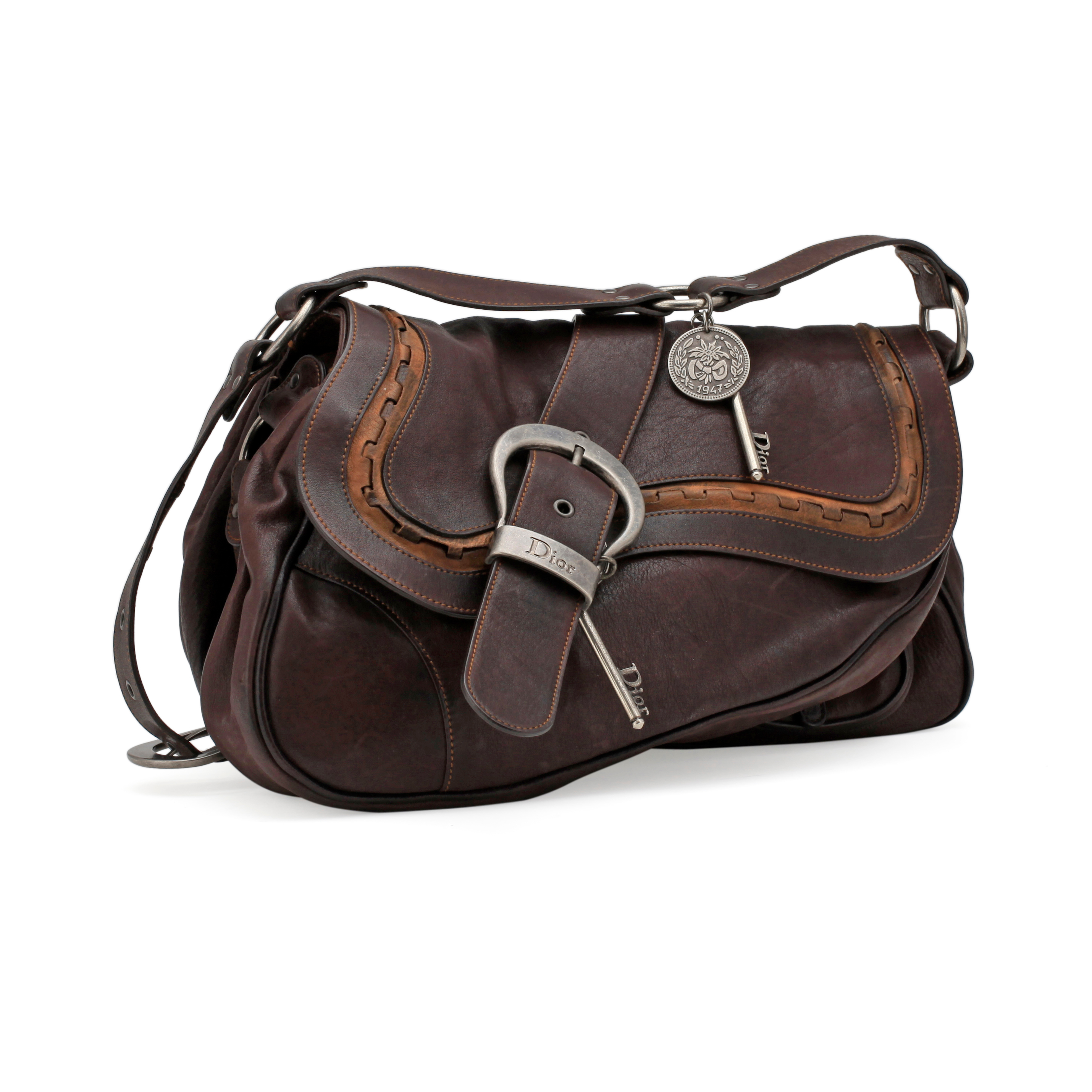 d7b06534142 CHRISTIAN DIOR, a brown leather