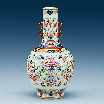 1645. A famille rose vase, presumably Republic, with Jiaqing seal mark.