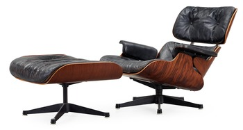 9. A Charles & Ray Eames Lounge Chair and ottoman, Herman Miller,