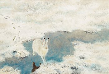 BRUNO LILJEFORS, Hare in winter landscape. Signed Bruno Liljefors and dated 1921. Canvas 52 x 75 cm.