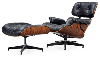 10. A Charles & Ray Eames Lounge Chair and ottoman by Herman Miller,