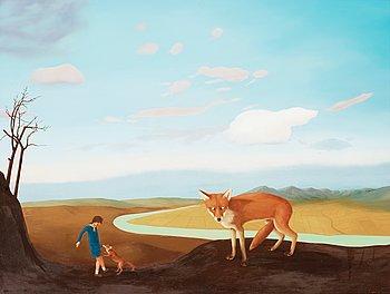 """404. Patrik Andiné, """"Självporträtt med räv"""" (Self-portrait with fox)."""