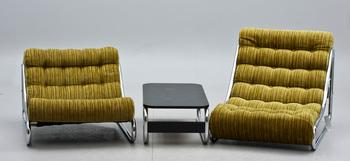 """FÅTÖLJER, 2 st samt SOFFBORD, """"Impala"""", Gillis Lundgren för IKEA, 1972."""