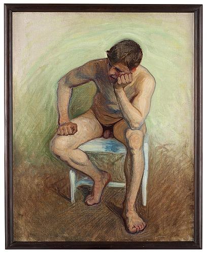 Eugène jansson, manlig aktstudie, sittande modell