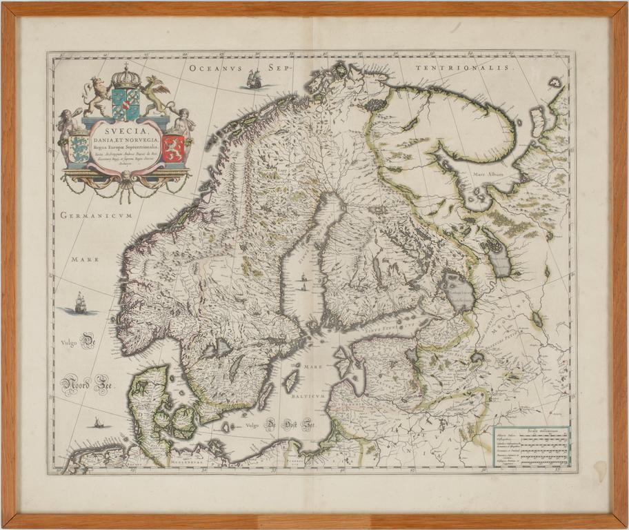 """KARTA, handkolorerad, Andreae Buraei de Boo, efter, """"Svecia, Dania et Norvegia, (1571-1646). 1700-tal."""