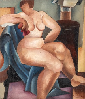 5. Axel Olson, Woman by the fireplace.