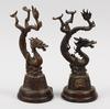 Figuriner, 2 st, patinerad metall, kina, 1900-tal.