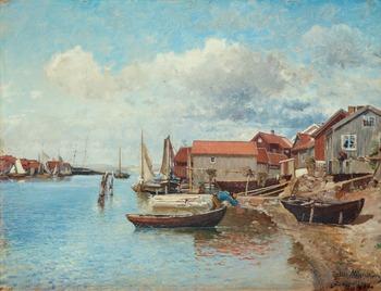 "15. Alfred Wahlberg, ""Fiskebäckskil"" (Fishing village on the west coast of Sweden)."