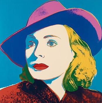 "206. Andy Warhol, ""Three portraits of Ingrid Bergman by Andy Warhol""."