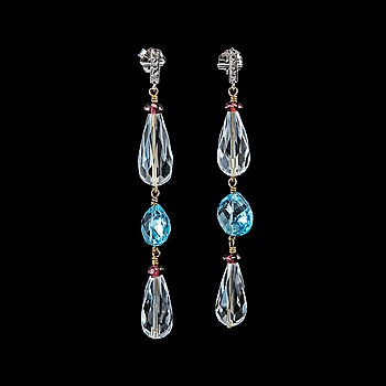 11. A PAIR OF EARRINGS, 8/8 cut diamonds, briolette cut rock crystal and topazes, garnets.