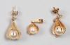Smyckeset, 3 delar, guld, pärlor. tot vikt 8 gram.