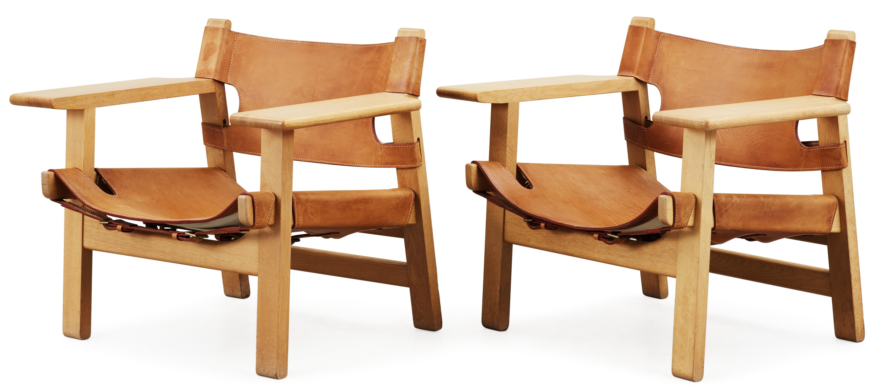 A pair of B¸rge Mogensen The Spanish Chair in oak and leather by
