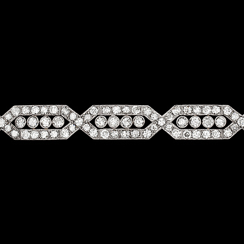 1025. An Art Deco diamond bracelet, tot. app. 12 cts.