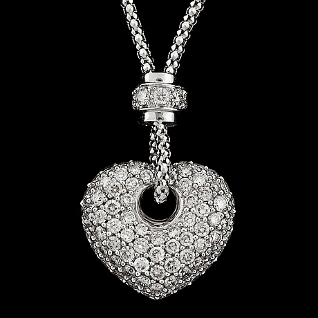 A brilliant cut diamond heart necklace, tot. 1.45 cts.