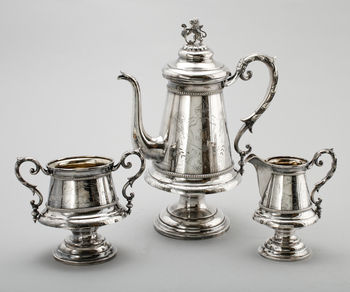 308177. KAFFESERVIS, 3 delar, nysilver, G. A. Kjernås, sent 1800-tal.