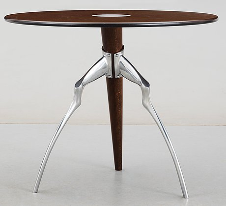 A matthew hilton wood and chromed steel table, london 1980's.