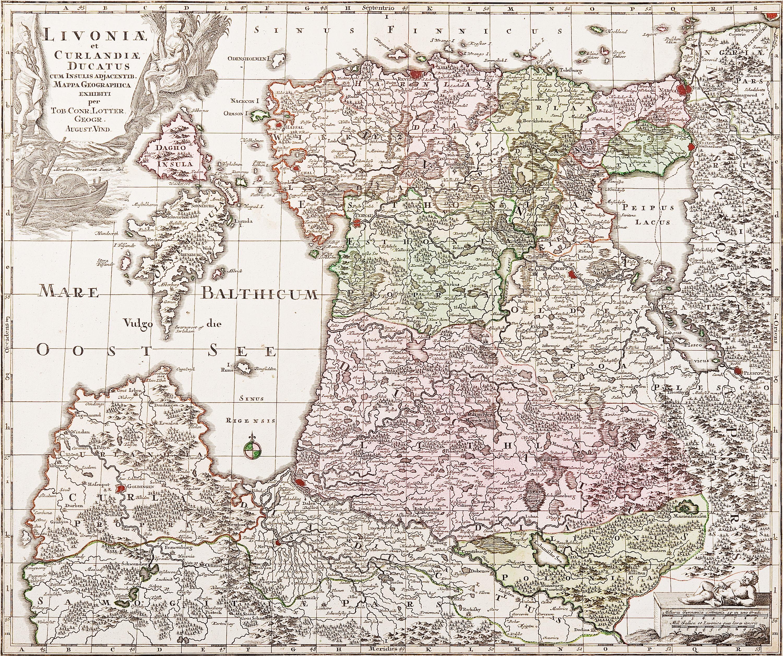 Kartta Livoniae G Lotter Augsburg 1700 Luvun Loppupuoli