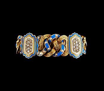 19. ARMBAND, 26 antikslipade diamanter ca 1.30 ct, pärlor, emalj.