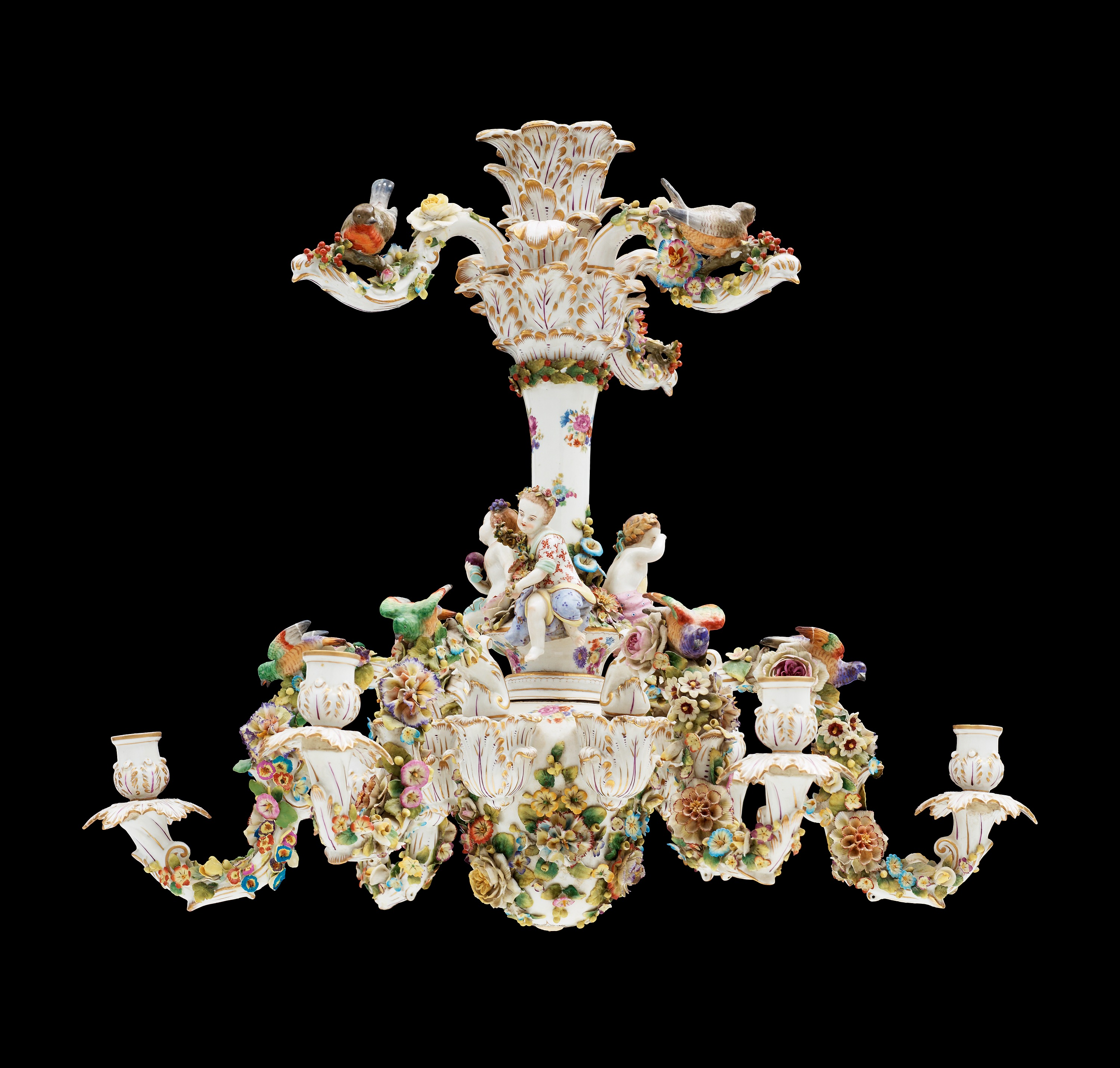 A rococo style porcelain chandelier ca 1900 bukowskis 8308220 bukobject mozeypictures Gallery