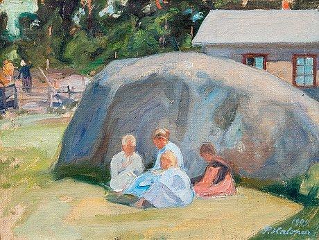 Pekka halonen, children playing in the yard.