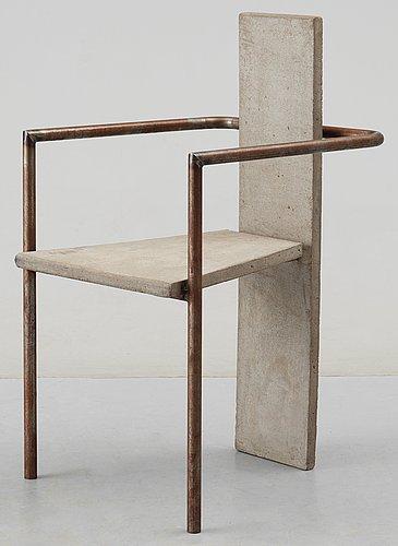A jonas bohlin iron and cast concrete 'concrete' armchair, by källemo, sweden 1981.