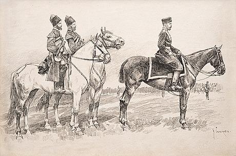 Nikolai semenovich samokish, tsaari nikolai ii hevosellaan.