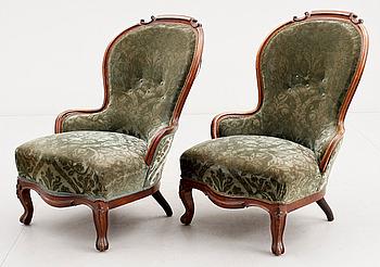 314262. FÅTÖLJER, ett par, nyrokoko, 1800-talets andra hälft.