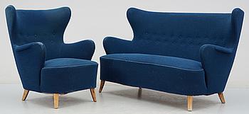 314726. SOFFGRUPP, 2 delar, möjligen Carl Malmsten, 1940-tal.