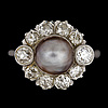 A natural grey pearl set with antique cut diamond ring, tot. 1.40 cts